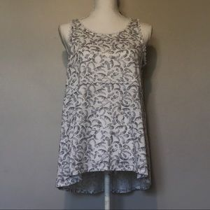 Lauren Conrad Women's Tank Top White Gray Print